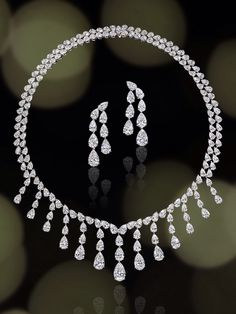 Diamond necklace and earrings from the DEHRES collection