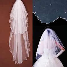 (I)  White Ivory Classical Elegant Chapel Wedding Bridal Veil Lace Edge T03 3Layers