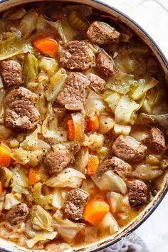 Beef Cabbage Soup is quick to make, healthy, low in carbs and full of delicious flavour! Made with minimal ingredients, full of cabbage, carrots, onions, garlic and tender, fall apart beef! Low fat, low carb, healthy, diet approved and so super filling yo
