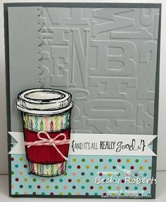 Cardstock:  Basic Gray, Smoky  Slate, Strawberry Slush, Birthday Basics Designer Series Paper Stamp Sets:  Perfect Blend, Really good Greetings Accessories:  Scallop Edge Border Punch, Alphabet Press Embossing Folder, Big Shot, Calypso Coral Baker's Twine
