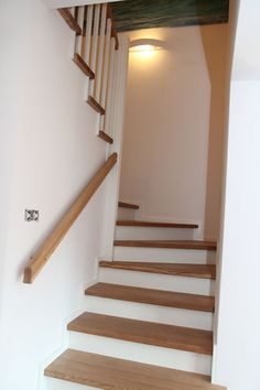 Wood Staircase, Stair Railing, Cottage Renovation, Modern Stairs, House Stairs, Home Reno, Stairways, Modern Interior, My House