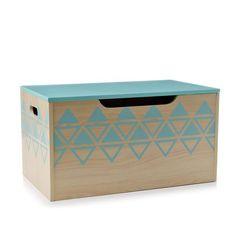Adairs Kids Timber Toy Box Mint Triangles, kids storage box, kids toy box