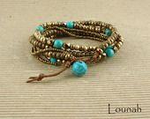 Bracelet wrap style bohème perles bronze et turquoise véritable : Bracelet par lounah-bijoux