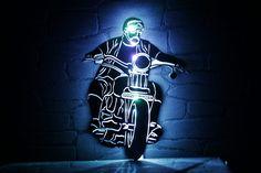 Beleuchtetes Edelstahl Wandbild nach Fotovorlage.  #Motorrad #biker #harleydavidson #bike