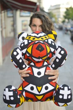 """Doudou African King """"Handmade"""" giant bear by Myria Maxo Mode Wax, Latest African Styles, Toddler Skirt, Ethno Style, African Theme, African Crafts, International Clothing, African Accessories, African Children"""