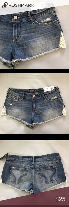 Hollister distressed denim shorts with side lace Never worn! Perfect condition. Hollister Shorts Jean Shorts