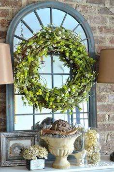 Simple Spring wreath Vintage Finds: Spring Vignettes