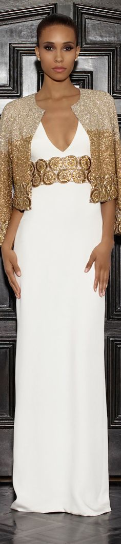 Lorena Sarbu 2015 Resort Collection - long white color dress with sparkling jacket