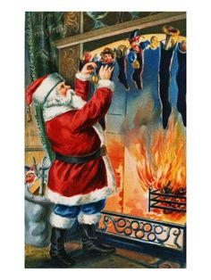 Postcard of Santa Filling Christmas Stockings Giclee Print at Art.com