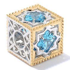 151-056 - Gems en Vogue 3.20ctw Swiss Blue Topaz Scrollwork Cube Slide-on Charm