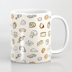 Cheese pattern Coffee Mug by Laura Frere - 11 oz Unique Coffee Mugs, Tea Mugs, Graphic, Cool Stuff, Stuff To Buy, Coffee Cups, Wraps, Fancy, Cheese
