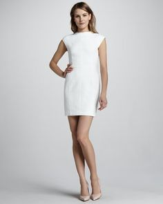 Ancua Cap-Sleeve Jacquard Dress by Theory at Neiman Marcus.