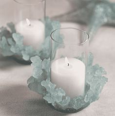 Sea Glass Wedding, Seashell Wedding, Floating Candle Holders, Diy Candle Holders, Candle Centerpieces, Pillar Candles, Hurricane Candle, Coastal Wedding Centerpieces, Shell Candles
