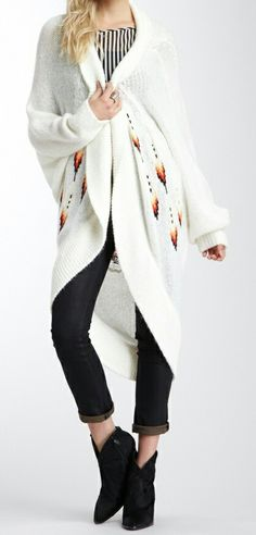 Long white beautiful shrug.
