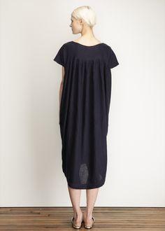 Black Crane Cocoon Dress (Navy)