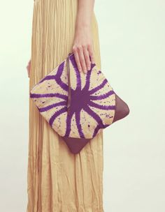 NOMAD Collection  STELLA Leather & Kimono Clutch by gracedesign