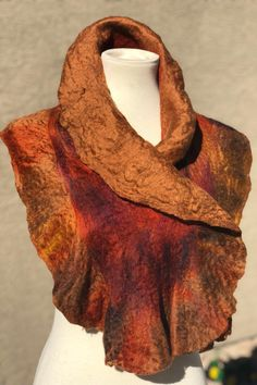 Excited to share this item from my shop: Wet Felt Scarf Autumn Ruffle Scarf Wet Felt Scarf Silk Scarf Merino Wool Scarf Art Scarf Felted Silk Chiffon Scarf Christmas Gift for Her Chiffon Scarf, Silk Chiffon, Crochet Ruffle Scarf, Crochet Granny, Wool Art, Neck Piece, Mulberry Silk, Silk Scarves, Wearable Art