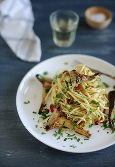Alcachofas estafa espaguetis