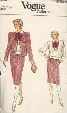 Vogue Sewing Pattern 80s Fashion Two Piece by AdeleBeeAnnPatterns, $5.50