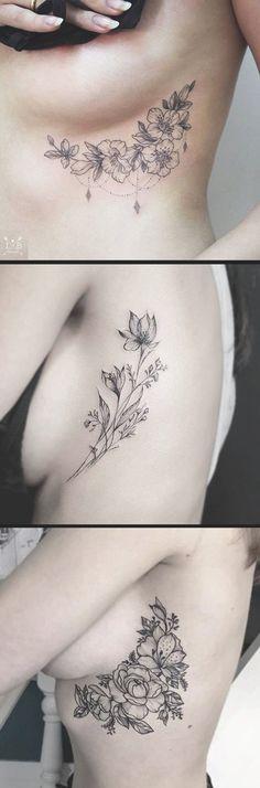 Inspirational Black and White Floral Flower Rib Cage - Realistic Peony Foliage idées de tatouage pour les femmes - www.MyBodiArt.com