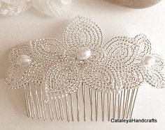 Silver and Pearl French Beaded Hair Comb Slide Wedding Hair Accessory