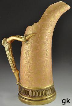 Tusk Form Royal Worcester Ewer Pitcher Stag Handle Gilded C 1887