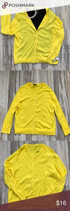 J Crew Cotton/Cashmere Yellow Cardigan Sweater | Sweater cardigan ...