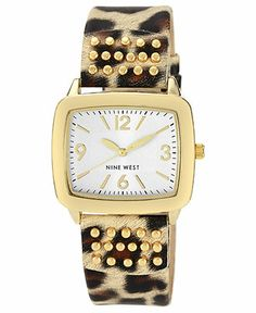 Nine West Watch, Women's Gold-Tone Stud Leopard Print Strap 31x37mm NW-1462SVLE - Women's Watches - Jewelry & Watches - Macy's