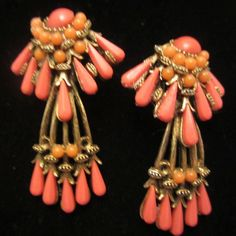 """Rare Vintage 2"""" Signed HAR Gold Tone Coral Bead Clip On Dangle Earrings A31"""