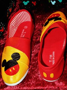 Hand Painted Mickey Mouse Canvas Shoes Size 10 by singitout, $35.00