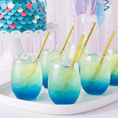 Birthday Party Drinks, Barbie Birthday Party, 6th Birthday Parties, Barbie Party, Fourth Birthday, Birthday Stuff, Birthday Ideas, Underwater Birthday, Underwater Party