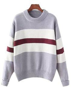 Color Block Mock Neck Long Sleeve Sweater