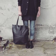 FREE SHIPPING, black leather tote bag, oversized, shopper bag,... ($143) ❤ liked on Polyvore featuring bags, handbags and tote bags