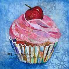 Items similar to Cupcake Print - Mixed Media Collage - - Dessert - Art - Bakery - Food - Pink Cupcake on Etsy Collage Art Mixed Media, Mixed Media Canvas, Cupcake Mix, Rose Cupcake, Cupcake Toppers, Cupcake Cakes, Arts Bakery, Vintage Cupcake, Medium Art