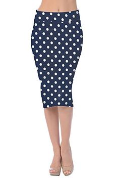 a586d05454 Womens Fashion Trendy Navy Floral Midi Pencil Knee High Classic Skirt USA  at Amazon Women's Clothing store:
