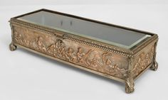 French Victorian accessories box silver-plate