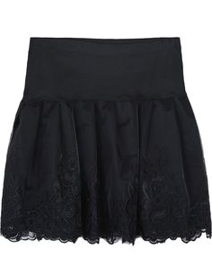 Black Embroidered Lace Pleated Skirt US$19.34