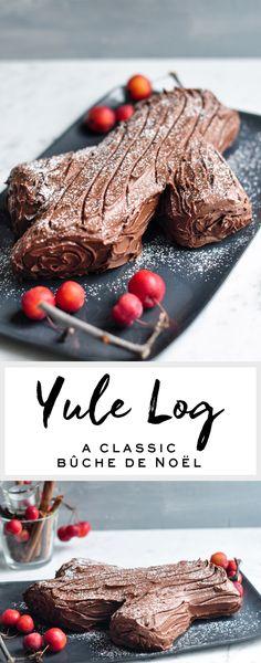 Chocolate Yule Log (Bûche de Noel) - the perfect Christmas centrepiece Christmas Desserts, Easy Desserts, Delicious Desserts, Christmas Cakes, Christmas Baking, Christmas Brunch, Christmas Foods, Holiday Fun, Baking Recipes