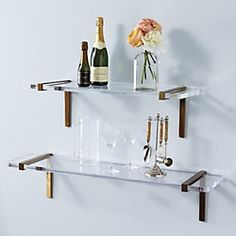 Brass + Lucite Shelves