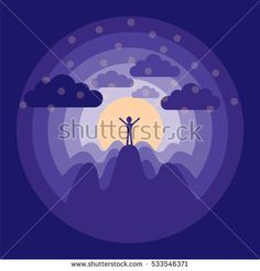 Man At the height of mountains against the setting sun. conceptual illustration.
