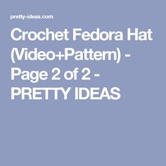 Crochet Fedora Hat (Video+Pattern) – Page 2 Fedora Hat, Free Pattern, Crochet, Hats, Pretty, How To Make, Ideas, Chrochet, Felt Hat