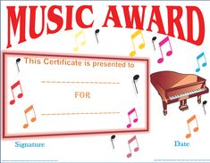 In Awe of Your Music Award Certificate Template