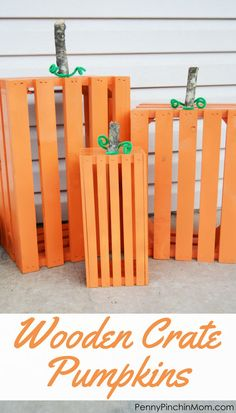 Fall DIY Decorating DIY Idea Wooden Crate Pumpkins- perfect for your front porch for the fall season! Wooden Crate Pumpkins are an easy fall DIY and are great for the entire season! They brighten up the front porch in no time at all! Halloween Pumpkins, Fall Halloween, Halloween Decorations, Classy Halloween, Fall Pumpkins, Halloween Party, Pumpkin Decorating, Porch Decorating, Budget Decorating