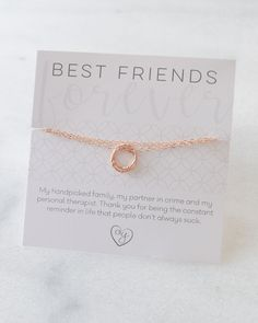 Best Friend Necklace with a sweet and sassy card. Just enough love without the mush. Your bestie will love this! By Olive Yew in gold, silver and rose gold.