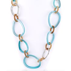 Large Resin Links Long Necklace ($45) ❤ liked on Polyvore featuring jewelry, necklaces, blue necklace, cut out necklace, long jewelry, blue jewelry and green necklace
