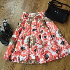 "Just in NWT Maison Jules skirt NWT Maison Jules skirt. Fully lined. Beautiful pop of colors and perfect for spring and summer. Size small. Waist flat 13"", length 25"". Side zipper. 100% polyester. Machine washable. Maison Jules Skirts"