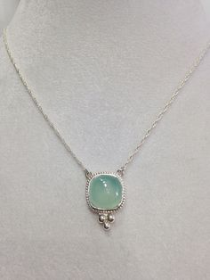 Sterling Silver, Chalcedony Necklace with 1.3mm double rope chain by CopperfoxGemsJewelry on Etsy