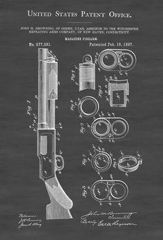 Browning Shotgun Firearm   Patent Print, Wall Decor, Gun Art, Firearm Art,  Pump Action Shotgun, Shotgun Patent