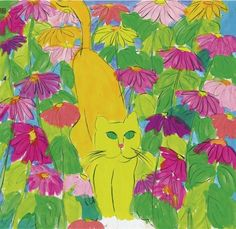 Walasse Ting (American/Chinese, 1929–2010) - Yellow cat among the flowers