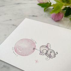 C é l e s t e ♡ Geboortekaartje gedrukt op een dik en stevig kaartje met een - zeg nu zelf 🤭 - super schattig olifantje. Kaartje op maat // geboortekaartje // watercolor // babygirl // zwanger // inspiratie Home Studio, Seeds, House Studio
